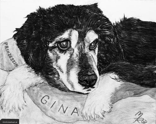 PRINZESSIN GINA; 40x50 cm; Ghesso auf Leinen (Original nicht mehr erhältlich)