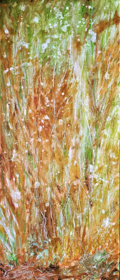 BRAND WOOD; 58x25 cm; Acryl auf Leinen; Preis € 150,-