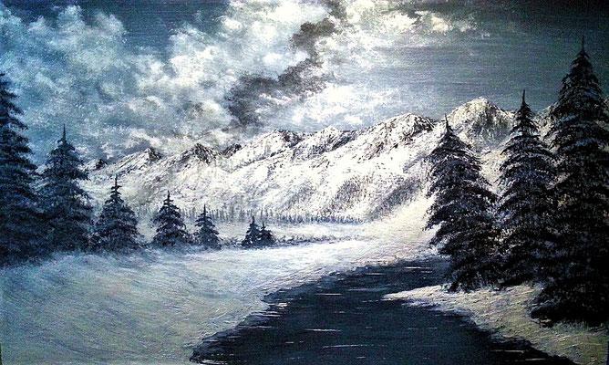 WINTER LANDSCAPE; 42x56 cm; Acryl auf Malplatte; Preis € 150,-