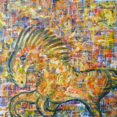 HORSE JOY; 60x60 cm; Acryl auf Leinen; Preis € 300,-