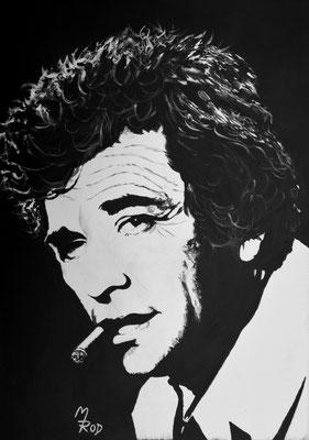 """PETER FALK (""""Columbo""""); 70x50 cm; Ghesso auf Leinen (Original nicht mehr erhältlich)"""