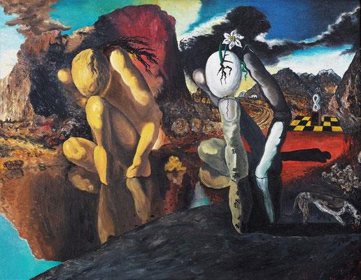 METAMORPHOSE DES NARZISS (nach Salvador Dali); 50x70 cm; Öl auf Leinen; schwarz gerahmt; Preis € 350,-
