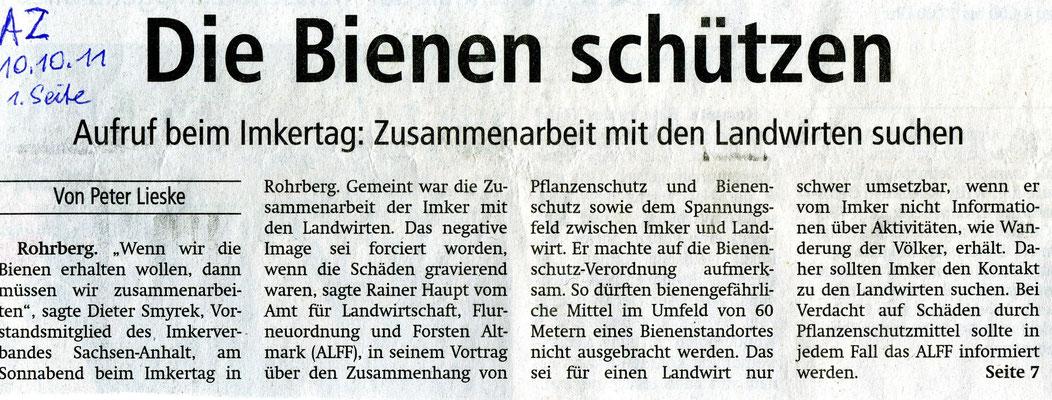 10.10.2011 Altmarkzeitung