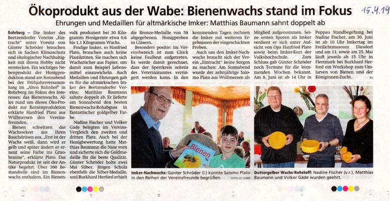 Altmarkzeitung vom 15.4.2019