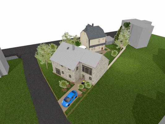 Luftbild Haus und Scheune
