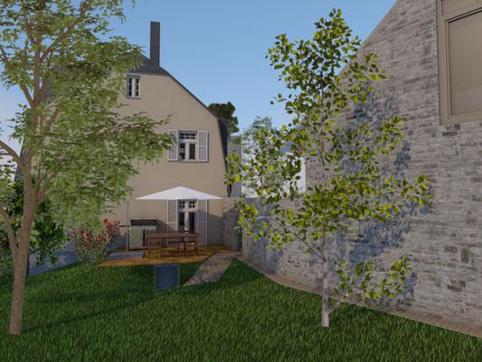 Perspektive Gartenenansicht, Haus und Scheune