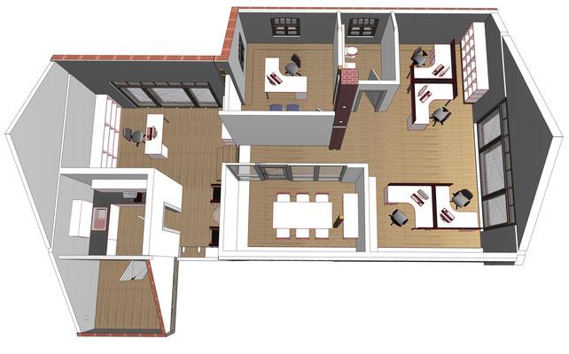 Grundriss 3D Obergeschoss, Scheune
