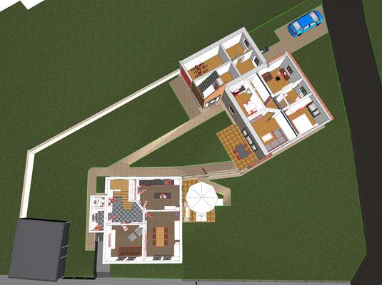 Grundriss 3D Erdgeschoss, Haus und Scheune