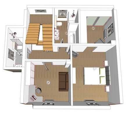 Grundriss 3D Obergeschoss, Haus