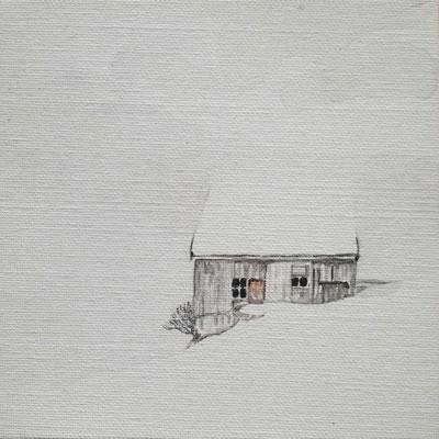 Stall, 2015, Aquarell auf Leinwand, 15x15