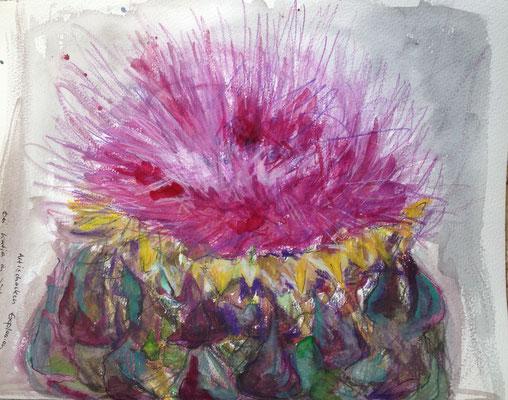 Artischockenexplosion, 2015, Aquarell auf Papier, 29x23