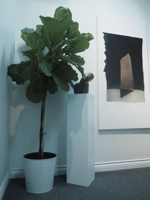 Installation on the 4th floor of the Ascending Gallery   Bronze Sculpture by Dan Walsh  Painting 'Sentinal'  by d harris
