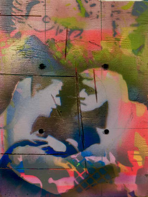 Spray paint and stencil by Kathryn Cramer