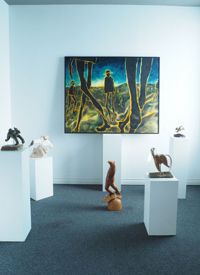 Painting by Della Heywood, Soapstone Sculptures by Floyd Kutana, Wooden Standing Bear by Susan Valyi