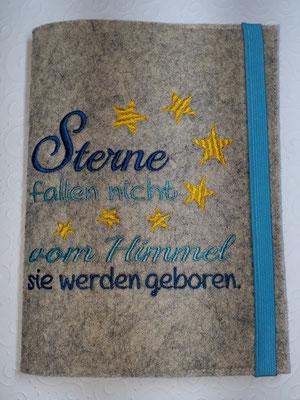 """Stickmotiv """"Sterne fallen nicht"""" in türkis-petrol-gelb auf Filz in natur meliert, Gummi helltürkis (Stickdatei Rock-Queen)"""