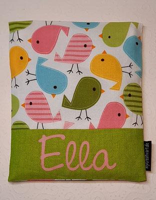 Vögel rosa-grün mit grünem Schrift-Hintergrund, geplottet
