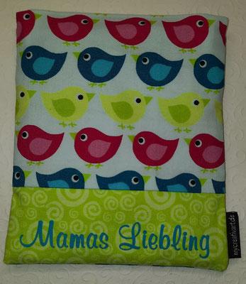 Vögel pink-türkis-grün mit grünem Schrift-Hintergrund, geplottet