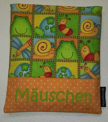 Frösche + Schnecken mit orangem Schrift-Hintergrund, geplottet