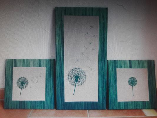 Gesticktes Triptychon, auch in Deiner Wunschfarbe machbar, auf Keilrahmen gezogen (Stoffe für Rand nach Absprache; dieser könnte vergriffen sein)) (Stickdatei Rock-Queen)