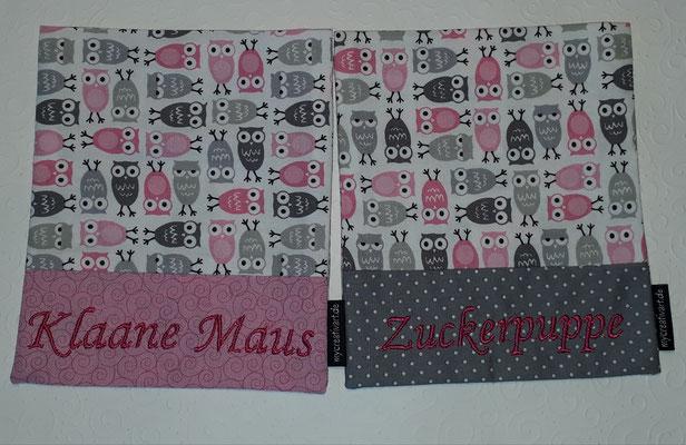 Eulen mit pink auf rosa oder grau