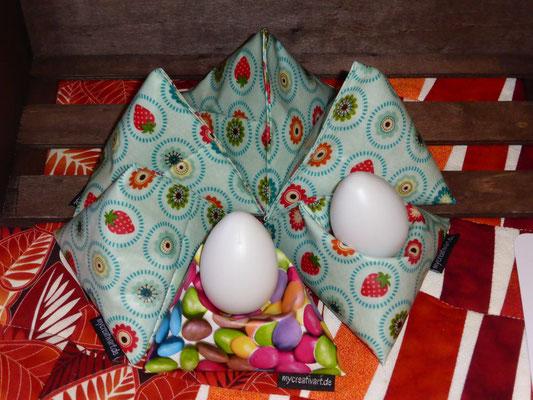Eierwärmesitzkissen, gefüllt mit Raps: Kissen in der Mikrowelle erwärmen, hält Ihr Frühstücksei länger warm und paßt für alle Eiergrößen