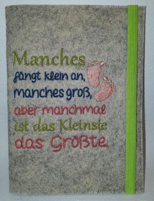 """Motiv """"Manches"""" auf Filz in muschel meliert in apfelgrün, petrol, koralle, lachs, Gummi apfelgrün, Stickdatei Rock-Queen"""