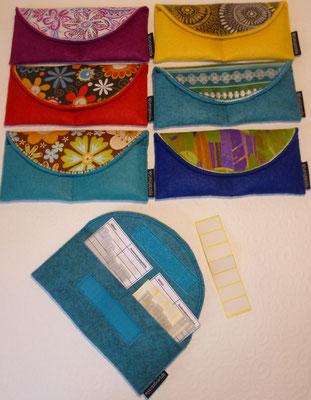 Täschchen mit 14 Blanko-Röhrchen für Homöopathie für unterwegs, mit Blanko-Aufklebern und Blankoliste (diese Stoffmotive sind vergriffen, weitere nach Wunsch machbar), Preis wie abgebildet, bestückt 15€