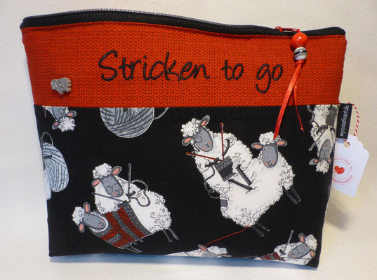 Stricken-to-go-Tasche im DIN-A-5-Format für Socken- und Mützenstricker