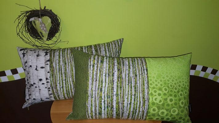 Couchkissen in verschiedenen Größen und Stoffkombinationen möglich, den Birkenstoff gibt es auch mit orange