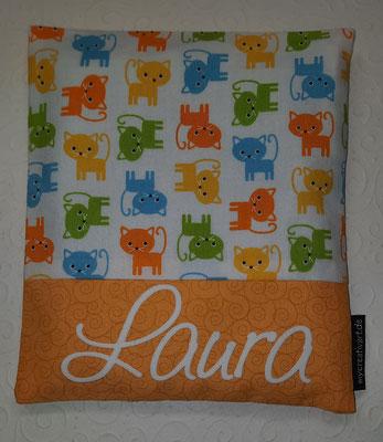 Katzen mit orangem Schrift-Hintergrund, geplottet