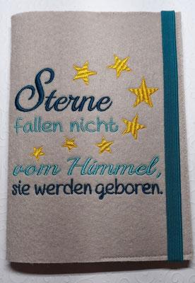 """Stickmotiv """"Sterne fallen nicht"""" in türkis-petrol-gelb auf Filz in toffee, Gummi petrol (Stickdatei Rock-Queen)"""