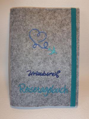 Reisetagebuch mit Notizbuch in DIN A 5 (kann nachbefüllt werden) (Stickdatei von Rock-Queen)