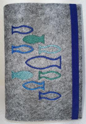 Stickmotiv Fische in blau-türkis auf Filz in hellgrau-meliert, Gummi blau