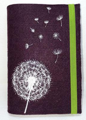 Stickmotiv Pusteblume uni in weiß auf Filz in burgund (Stickdatei von Rock-Queen), Gummi in grün