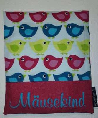 Vögel pink-türkis-grün mit Schrift-Hintergrund in pink, geplottet