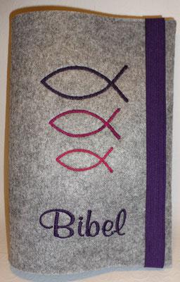 Stickmotiv Fische groß-klein in lila-pink auf Filz in grau-meliert, Schriftart Mural Script (Stickdatei von Taera-DIY)