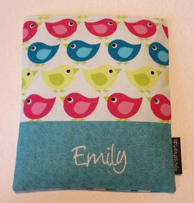 Vögel pink-türkis-grün mit türkisem Schrift-Hintergrund