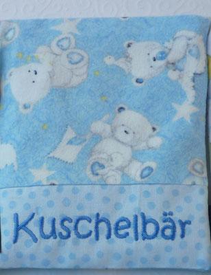 Graue Teddys auf hellblau (Stoff reicht noch für ein Wärmekissen)