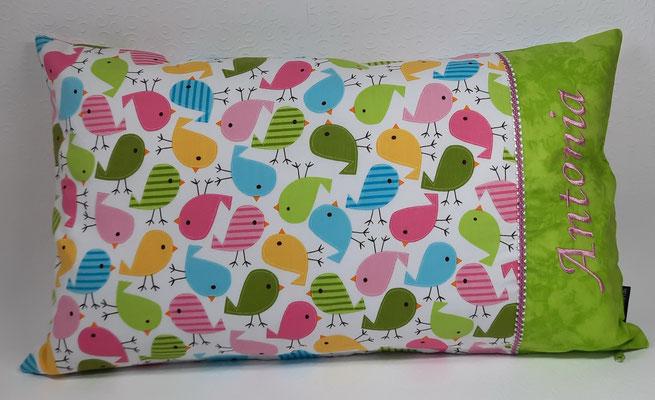 Kissen Vögel rosa-grün in 30x50 cm