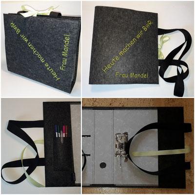 Eine Ordnertasche zum umhängen, mit Einsteckfächern für Stifte, Motiv nach Wunsch, geplottet oder gestickt. Preis ohne Stickerei 16€, mit Stickerei je nach Motiv/ Aufwand.