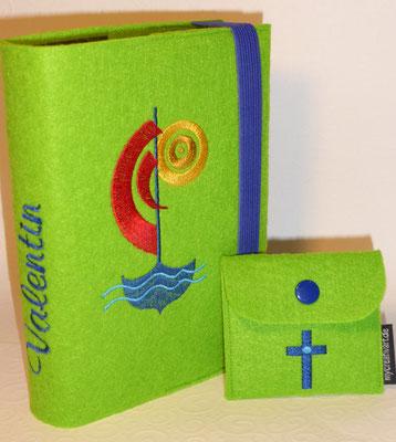 Stickmotiv Segelboot in rot-gelb-blau auf Filz in apfelgrün mit passendem Rosenkranztäschchen (Stickdatei Kreuz von Tanja Resing- himbeerdesign)