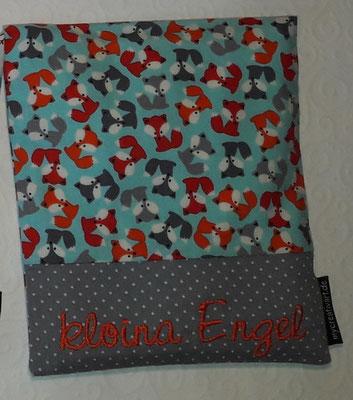 Mini-Füchse rot-orange-grau auf helltürkis