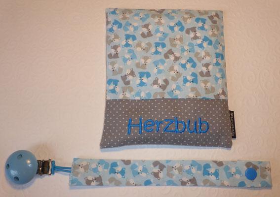 Mini-Füchse hellblau-grau, Stoff reicht nur noch für ein Wärmekissen und eine Schnullerkette