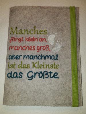"""Motiv """"Manches"""" auf Filz in kamelhaar in apfelgrün, koralle, türkis, creme, Gummi apfelgrün, Stickdatei Rock-Queen"""