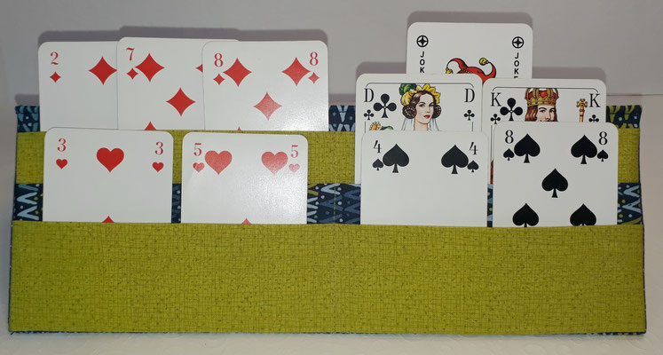 Hier sieht man die drei verschiedenen Ebenen mit Romme-/Canastakarten