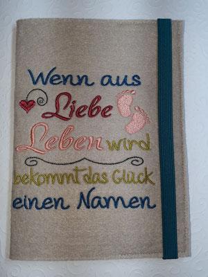 """Motiv """"Wenn aus Leben"""" in petrol-rosenholz-lachs-apfelgrün auf Filz in toffee, Gummi petrol (Stickdatei Rock-Queen)"""