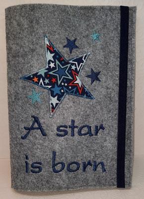 """U-Heft """"Star"""", gestickte Sterne mit Applikation , Filz hellgrau-meliert"""
