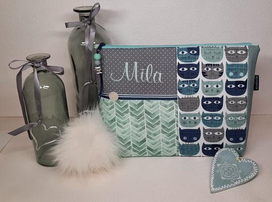 """Mal ein anderes Design, natürlich nicht nur als Wickeltasche geeignet... (der """"Katzenstoff blau-grau"""" reicht nur noch für eine solche Tasche, ich habe ihn aber auch noch in rosa-grau!)"""