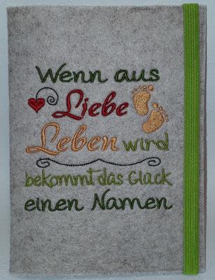 """Motiv """"Wenn aus Leben""""  auf Filz in kamelhaar, grün, rot, lachs, Gummi apfelgrün, Stickdatei Rock-Queen"""
