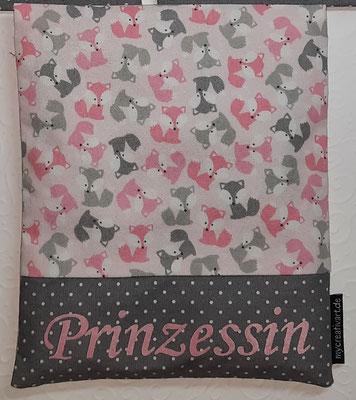 Mini-Füchse rosa-grau mit grauem Schrift-Hintergrund, geplottet